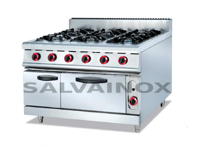 Cocina 6 fuegos con horno y armario porta bombonas f90 for Cocina 6 fuegos industrial